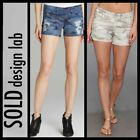 156 SOLD DESIGN LAB Gray Blue Camo Destroy Perry Denim Shorts  25,29,29 M3020