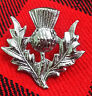More images of H1  New Highland Thistle Cap Badge / Glengarry Cap Badge Pin Silver Chrome Finish
