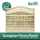 **Pack of 5** European Fence panel 6 x 5 Omega Decorative Lattice Top Tanalised