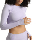 Dutte Dutta Women's Yoga Gym Crop Top Seamless Workout Athletic Fitness Long Sle