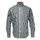 Relco Mens Striped Long Sleeve Button Down 60s Shirt
