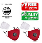 2-pcs Reusable Washable Cloth Face Mask with Air Port and 2 PM2.5 Carbon Filters