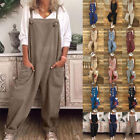 Women's Loose Linen Cotton Jumpsuit Dungarees Solid Playsuit Trousers Overall US