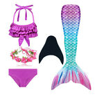 Girls 3Pcs Mermaid Tail Swimming Bikini Set Swimwear Swimmable Costumes Monofin
