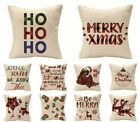 Christmas linen throw pillow covers, beige red sofa pillowcase, Christmas gift