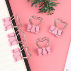 1/6pcs Pink Clip Heart Hollow Out Metal Binder Clips Notes Letter Paper Yjca