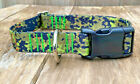 1 inch Green Digital Camo Adjustable Dog Collar with Quick Release Buckle