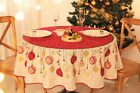 Christmas holiday tablecloth printed mid-century modern theme red, gold cream