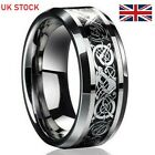 Men's Ring Dragon Celtic Silver Titanium Stainless Steel Wedding Fashion Band UK