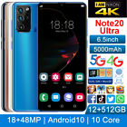 """Note20 Ultra 12+512gb 6.5"""" Android10 Smartphone Unlocked 18mp+48mp Mobile Phone"""