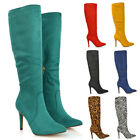 Womens Stiletto High Heel Boots Ladies Winter Pointed Toe Calf Knee Zip Size 3-8