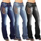 Women Embroidered Denim Jeans Pants Loose Jeggings High Waist Stretchy Trousers