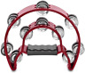 More images of Flexzion Half Moon Musical Tambourine Red Double Row Metal Jingles Hand Held for