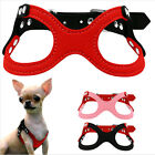 Soft Suede Leather Small Dog Harness For Pet Puppies Yorkie Ajustable Chest QT