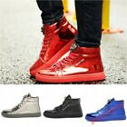 Mens Shiny High Top Sneakers Lace Up Metal Decor Flat Casual Shoes Athletic Punk