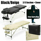Portable Lightweight Massage Table Beauty Couch Therapy Bed Folding 2/3 Section