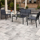 4pc Patio Furniture Outdoor Set w/Loveseat Tea Table Armchairs Home Lawn Balcony