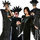 Deluxe Raven Queen Costume Maleficent Kids Adults Halloween Fancy Dress Outfit