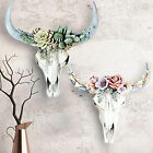 Resin Wall Ornament Beautiful Decorative Succulent/flower Cow Skull Hanging Home