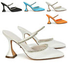 Womens Satin Court Shoes Open Back Ladies Diamante Flared Heel Pointed Size