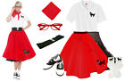 8 pc Red Poodle Skirt Outfit (1950s Retro Clothing Pink Ladies Saddle Shoes)