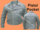 MENS BUFFALO LEATHER MOTORCYCLE JACKET W/PISTOL WEAPON POCKET