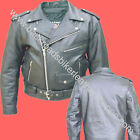 MENS CLASSIC BUFFALO LEATHER BIKER MOTORCYCLE JACKET