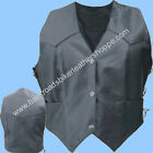 LADIES WOMEN LAMBSKIN  BLACK LEATHER MOTORCYCLE VEST SIDE LACE SIZES XS-5X