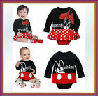 New Baby Boy Girl Mickey/Minnie Cotton One Pieces Outfit Bodysuit Jumpsuit 9-24M