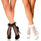 Black or White Fishnet Socks with Ruffle Trim One Size Fist Most    ML597