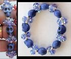 NEW! Stone Skull Bead w/ Sparkly Austrian Crystal Stretch BRACELET - 10 Colors!