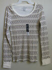 Womens LS Ribbed Tee - Beige Print - Size XS (0-2), S (4-6), M (8-10)