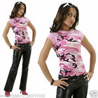 Women's Girls Pink Camouflage Cap Sleeve Raglan T-Shirt Top - FREE SHIPPING