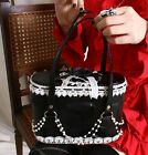 Sweet Lolita Princess Tea Party Fancy Tote Handbag Pearls Scalloped Black Pink
