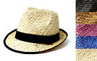 CUBAN STYLE STRAW WEAVE FEDORA HAT W BLACK BAND & TRIM -ASSORTED COLORS
