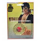 ROCK STAR SILVER GOLD SUNGLASSES SHADES MICROPHONE MEDALLION FANCY DRESS