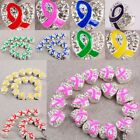 Wholesale 6 Type Enamel Ribbon Heart Crystal Silver Plated Big Hole Beads Charm