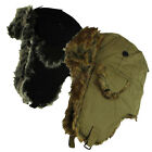 Mens Ladies Unisex Faux Fur Lining Trapper Hat Winter Velcro Fastening One Size