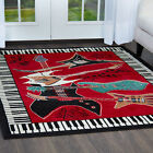 Musical Instrument Piano Key Bordered Red Area Rug Guitar Music Notes Carpet