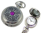 LADIES CELTIC PURPLE STONE PENDANT HANDBAG WATCH Beautiful Practical Gift Idea