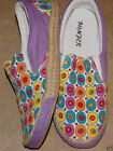 ADORABLE RETRO INSPIRED SUPER CUTE SLIP ON MULTI-COLOR CANVAS SNEAKERS Purple