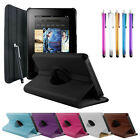 NEW LEATHER 360° ROTATING CASE COVER ACCESSORY FOR KINDLE FIRE