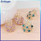 Gorgeous Shiny Colorful Rhinestone Butterfly Glazed Round Ear Stud Earrings