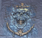 Nautical Skull with Anchor BLUE Adult Shirt