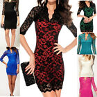 Hot Women Lady Sexy Lace Pencil Fit Cocktail Party Mini Dress V-neck 3/4 Sleeve