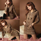 Women Lady Sexy Leopard Animal Print Mini Dress Long Sleeve Hoodie Pullover Tops