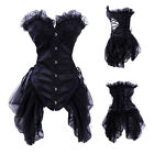 Goth Black Corset & Skirt Vampire Fancy Dress Outfit Halloween Costume Clubwear