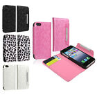 Leather Wallet Case Cover with Card Holder For iPhone 5 5S 5G Black Leopard Pink