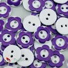 Dark Purple 2 Holes 12mm Flower Plastic Buttons Sewing Craft Scrapbooking