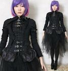 EGL Goth Punk Metal Robot Doll Buckle Strap D Ring Corset Cincher Laceup Blouse